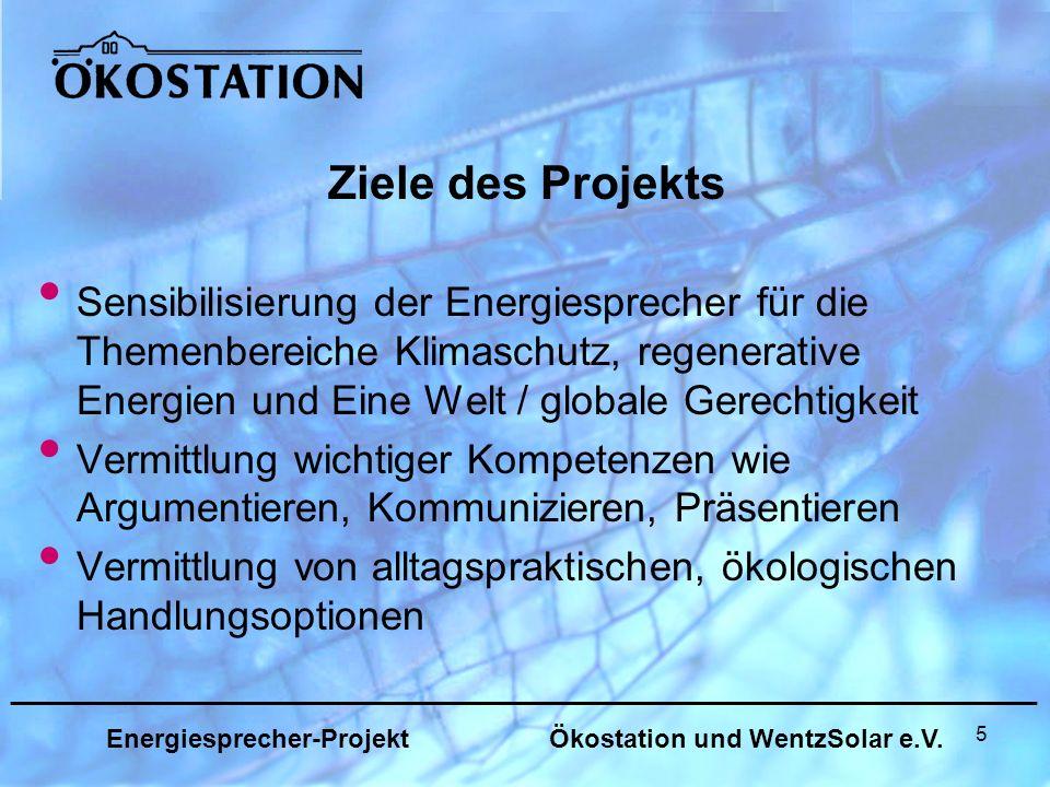 5 Sensibilisierung der Energiesprecher für die Themenbereiche Klimaschutz, regenerative Energien und Eine Welt / globale Gerechtigkeit Vermittlung wichtiger Kompetenzen wie Argumentieren, Kommunizieren, Präsentieren Vermittlung von alltagspraktischen, ökologischen Handlungsoptionen Ziele des Projekts _______________________________________________________________ Energiesprecher-Projekt Ökostation und WentzSolar e.V.