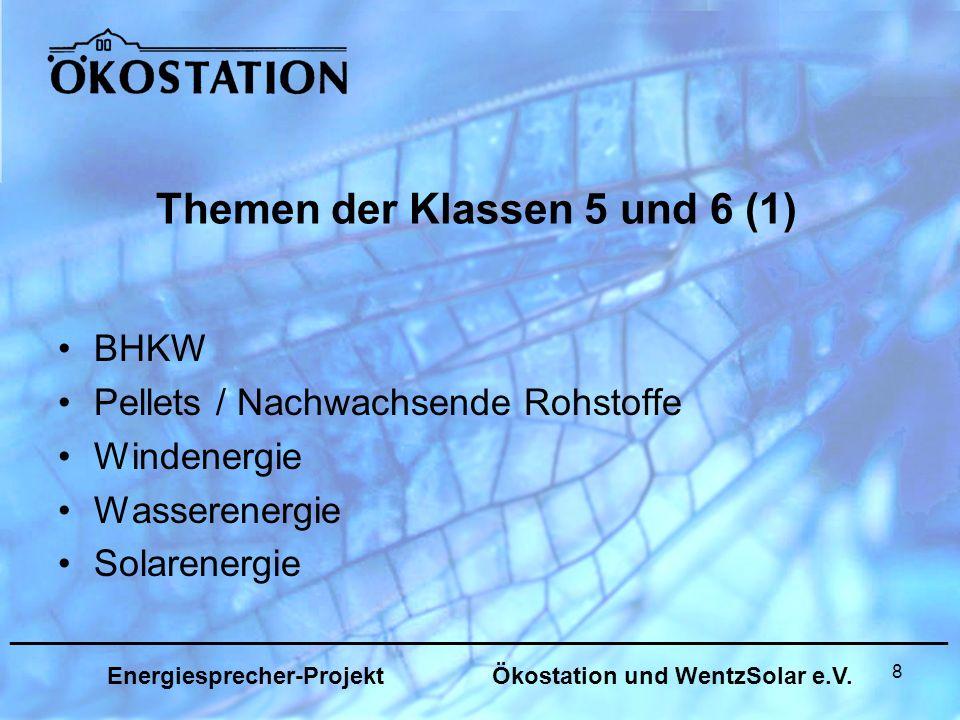 8 Themen der Klassen 5 und 6 (1) BHKW Pellets / Nachwachsende Rohstoffe Windenergie Wasserenergie Solarenergie _______________________________________________________________ Energiesprecher-Projekt Ökostation und WentzSolar e.V.