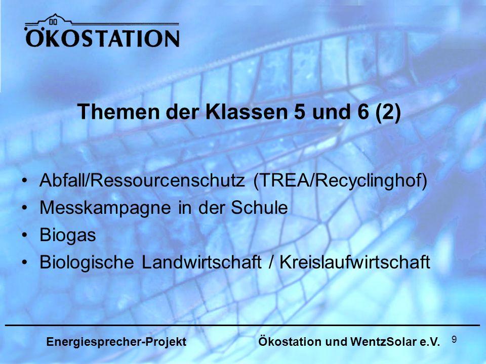 9 Themen der Klassen 5 und 6 (2) Abfall/Ressourcenschutz (TREA/Recyclinghof) Messkampagne in der Schule Biogas Biologische Landwirtschaft / Kreislaufwirtschaft _______________________________________________________________ Energiesprecher-Projekt Ökostation und WentzSolar e.V.