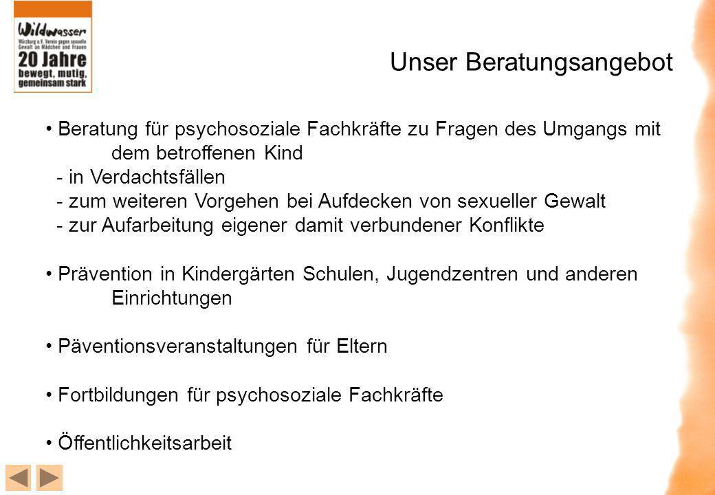 Unser Beratungsangebot Beratung für psychosoziale Fachkräfte zu Fragen des Umgangs mit dem betroffenen Kind - in Verdachtsfällen - zum weiteren Vorgeh