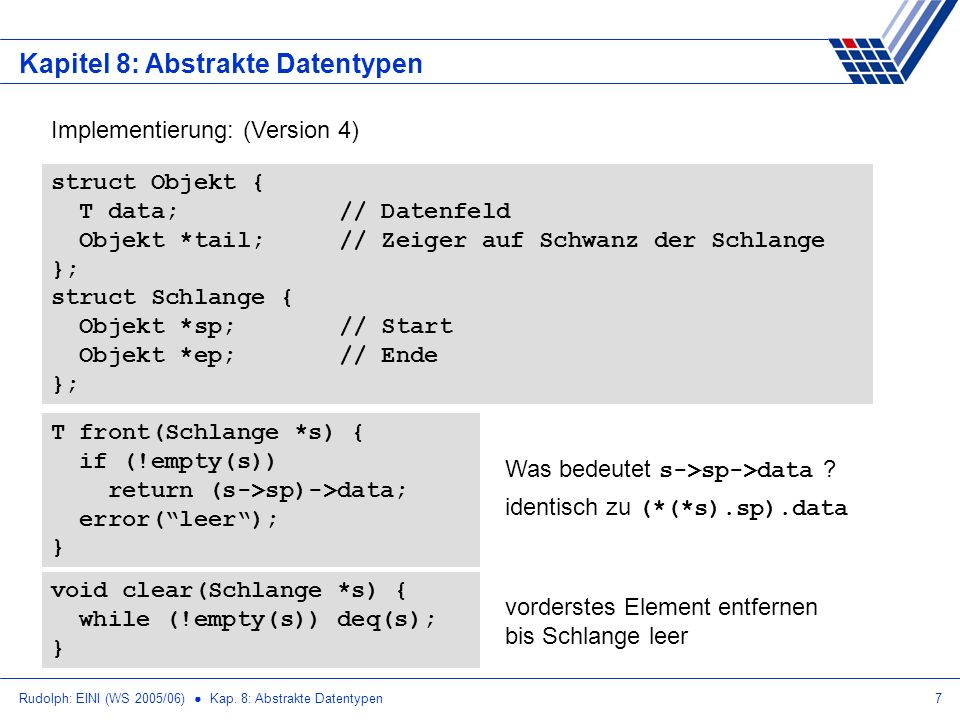 Rudolph: EINI (WS 2005/06) Kap. 8: Abstrakte Datentypen7 Kapitel 8: Abstrakte Datentypen Implementierung: (Version 4) T front(Schlange *s) { if (!empt