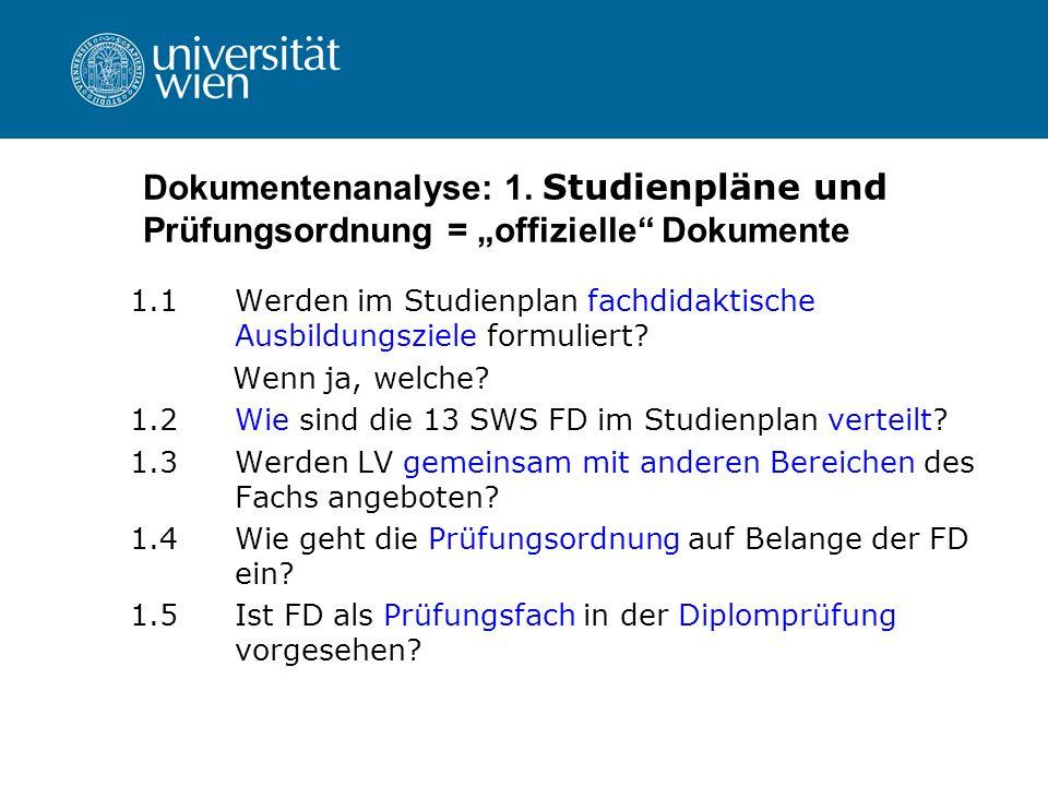 Dokumentenanalyse: 1. Studienpläne und Prüfungsordnung = offizielle Dokumente 1.1 Werden im Studienplan fachdidaktische Ausbildungsziele formuliert? W