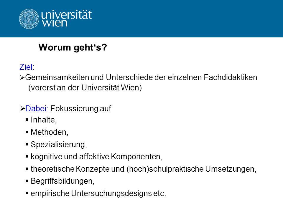 Worum gehts? Ziel: Gemeinsamkeiten und Unterschiede der einzelnen Fachdidaktiken (vorerst an der Universität Wien) Dabei: Fokussierung auf Inhalte, Me