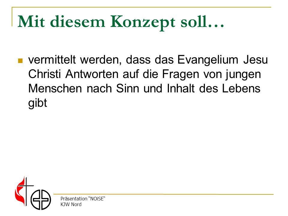 Präsentation NOiSE KJW Nord Mit diesem Konzept soll… vermittelt werden, dass das Evangelium Jesu Christi Antworten auf die Fragen von jungen Menschen nach Sinn und Inhalt des Lebens gibt