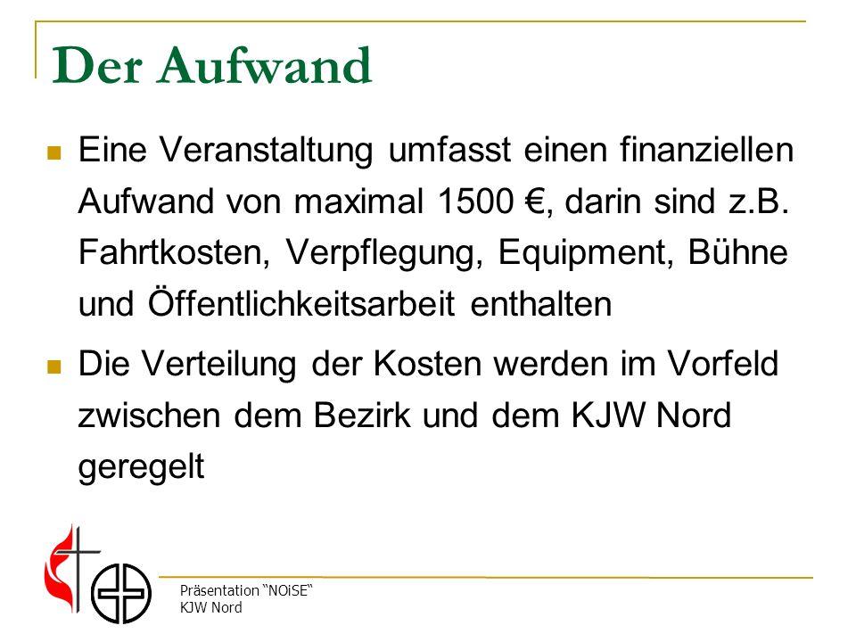 Präsentation NOiSE KJW Nord Der Aufwand Eine Veranstaltung umfasst einen finanziellen Aufwand von maximal 1500, darin sind z.B.