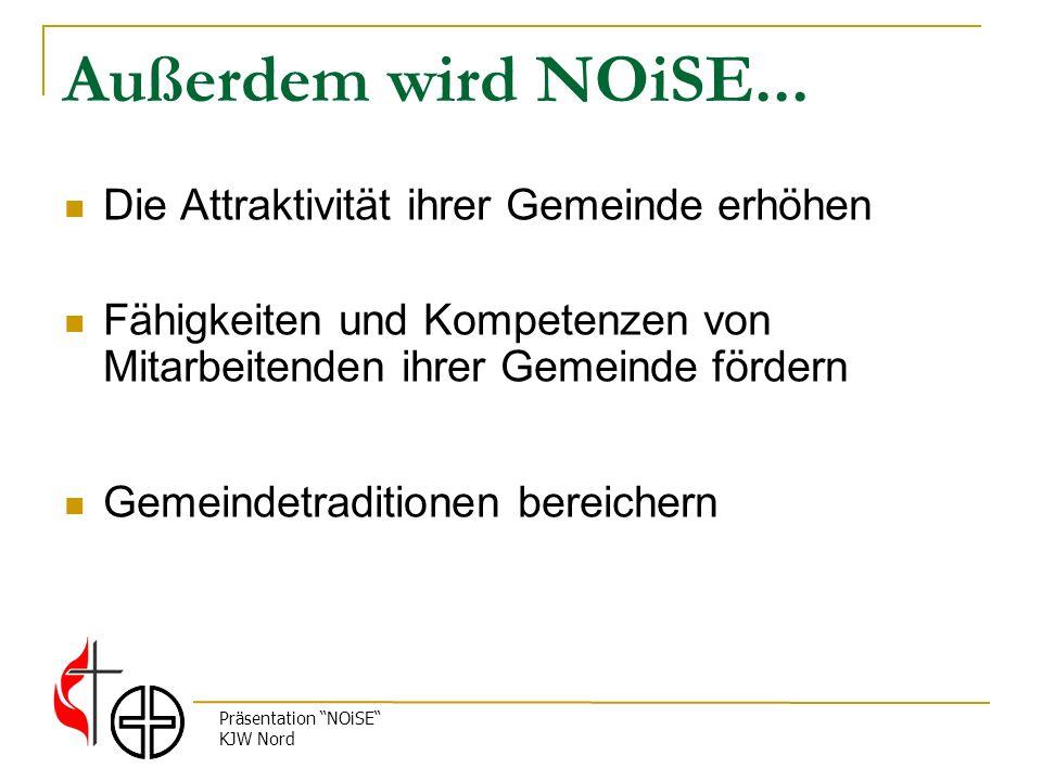 Präsentation NOiSE KJW Nord Außerdem wird NOiSE... Die Attraktivität ihrer Gemeinde erhöhen Fähigkeiten und Kompetenzen von Mitarbeitenden ihrer Gemei