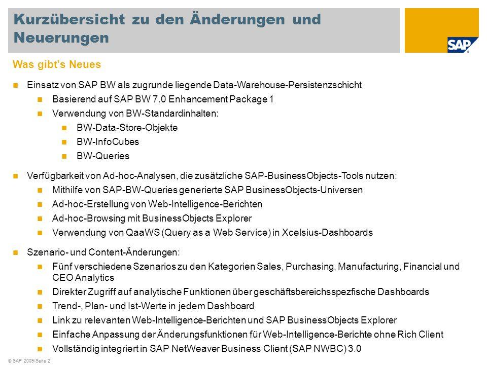 © SAP 2009/Seite 2 Was gibt's Neues Einsatz von SAP BW als zugrunde liegende Data-Warehouse-Persistenzschicht Basierend auf SAP BW 7.0 Enhancement Pac