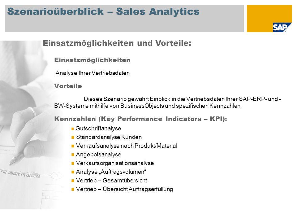 Szenarioüberblick – Financial Analytics Einsatzmöglichkeiten Analyse Ihrer Finanzbuchhaltungs- und Controlling-Daten Vorteile Dieses Szenario gewährt Einblick in die Finanzbuchhaltungs- und Controlling- Daten Ihrer SAP-ERP- und -BW-Systeme mithilfe von BusinessObjects und spezifischen Kennzahlen.