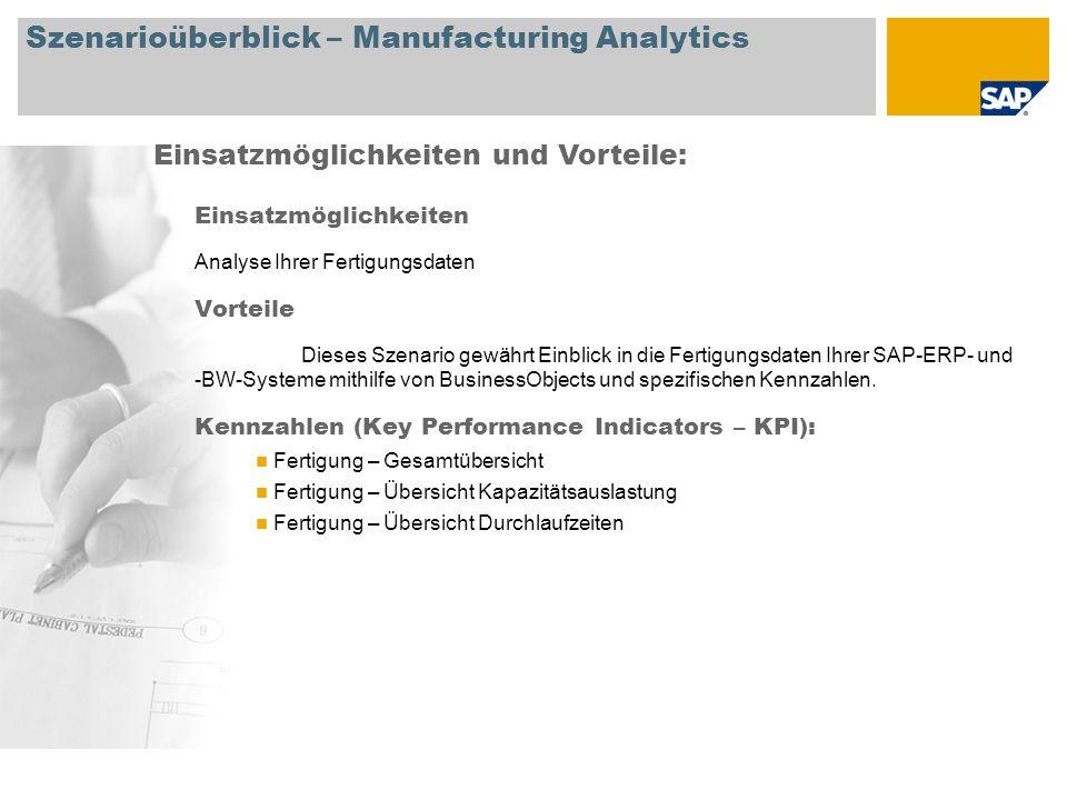 Szenarioüberblick – Manufacturing Analytics Einsatzmöglichkeiten Analyse Ihrer Fertigungsdaten Vorteile Dieses Szenario gewährt Einblick in die Fertig