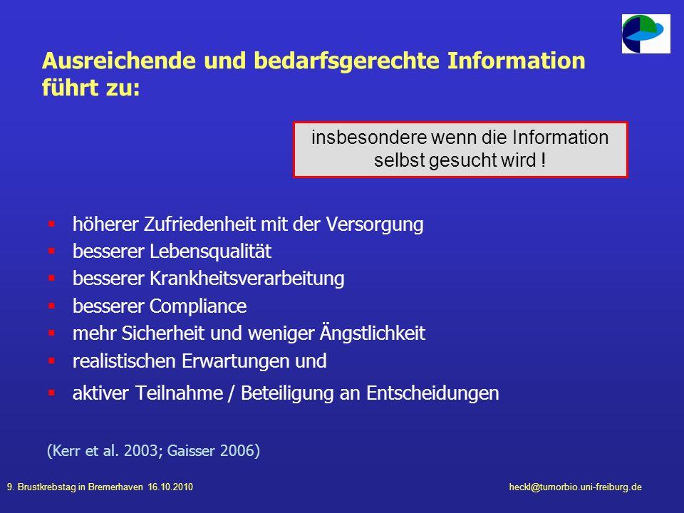9. Brustkrebstag in Bremerhaven 16.10.2010heckl@tumorbio.uni-freiburg.de Ausreichende und bedarfsgerechte Information führt zu: höherer Zufriedenheit