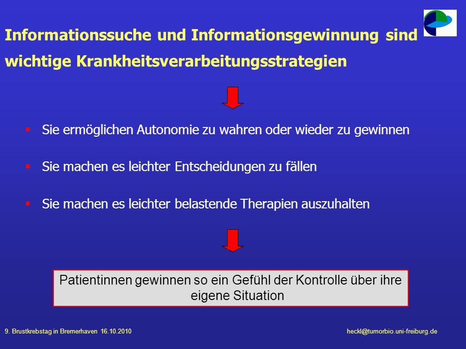 9. Brustkrebstag in Bremerhaven 16.10.2010heckl@tumorbio.uni-freiburg.de Informationssuche und Informationsgewinnung sind wichtige Krankheitsverarbeit