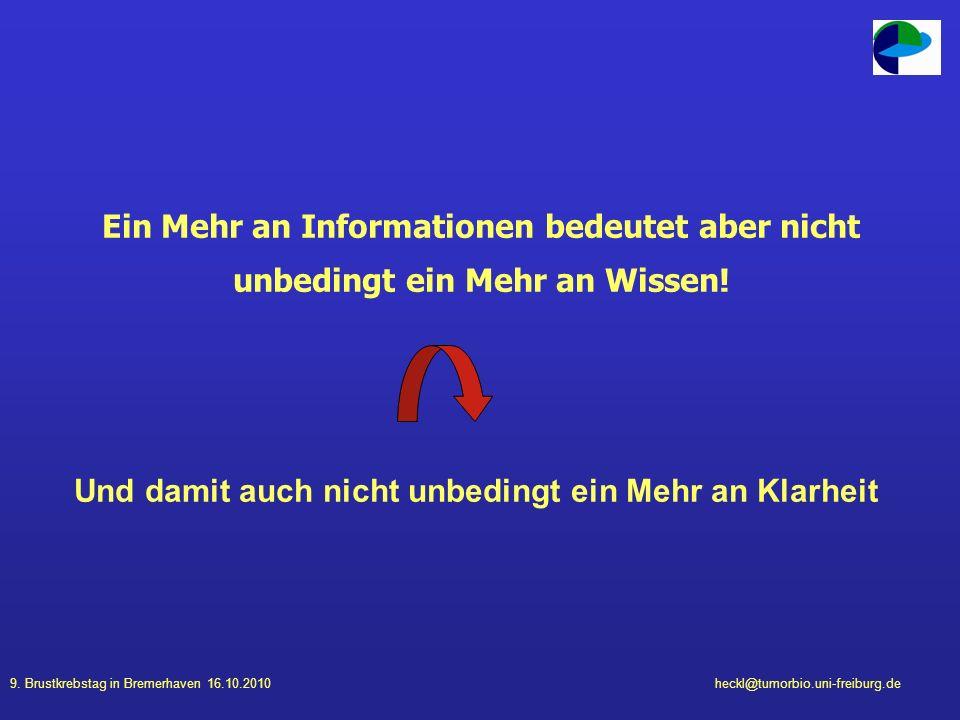 9. Brustkrebstag in Bremerhaven 16.10.2010heckl@tumorbio.uni-freiburg.de Ein Mehr an Informationen bedeutet aber nicht unbedingt ein Mehr an Wissen! U