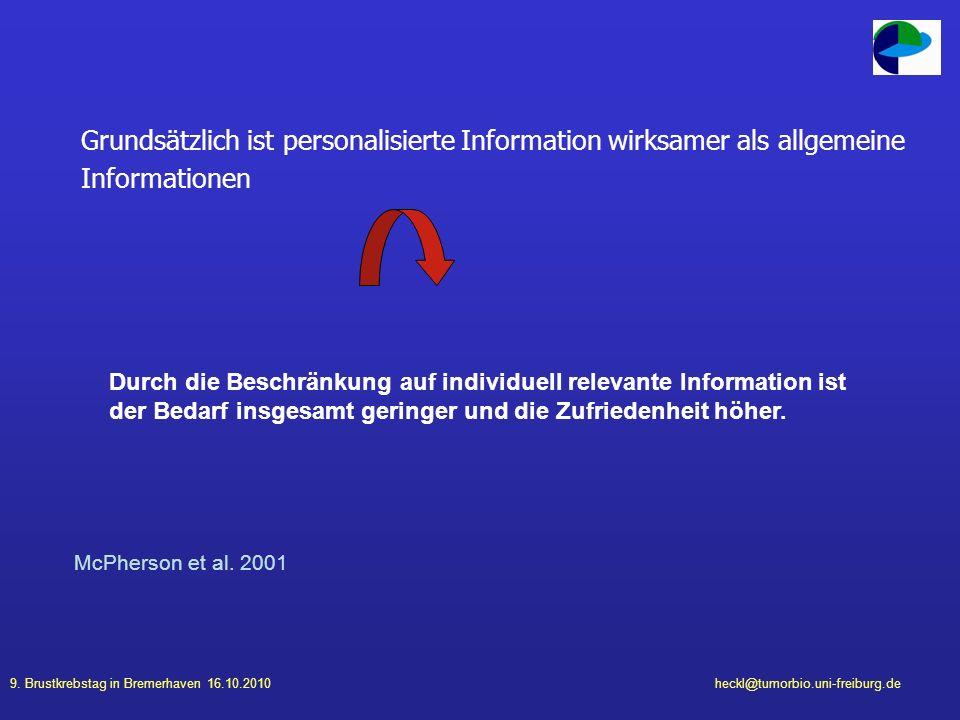 9. Brustkrebstag in Bremerhaven 16.10.2010heckl@tumorbio.uni-freiburg.de Grundsätzlich ist personalisierte Information wirksamer als allgemeine Inform