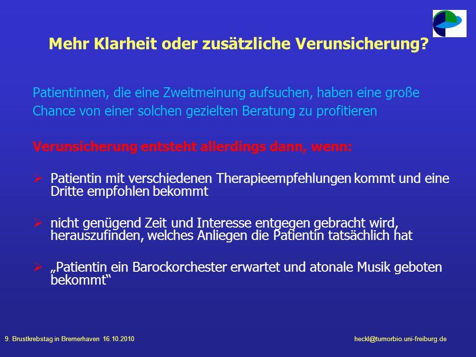 9. Brustkrebstag in Bremerhaven 16.10.2010heckl@tumorbio.uni-freiburg.de Mehr Klarheit oder zusätzliche Verunsicherung? Patientinnen, die eine Zweitme