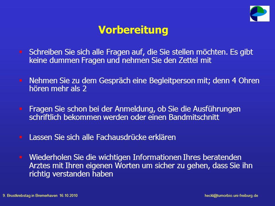 9. Brustkrebstag in Bremerhaven 16.10.2010heckl@tumorbio.uni-freiburg.de Vorbereitung Schreiben Sie sich alle Fragen auf, die Sie stellen möchten. Es