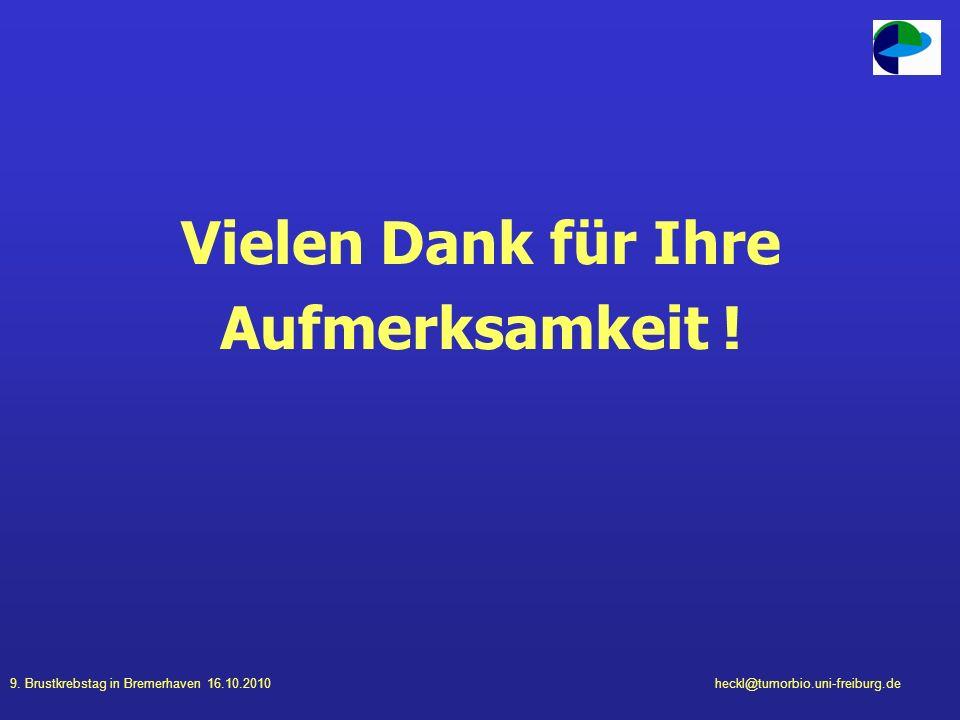 9. Brustkrebstag in Bremerhaven 16.10.2010heckl@tumorbio.uni-freiburg.de Vielen Dank für Ihre Aufmerksamkeit !