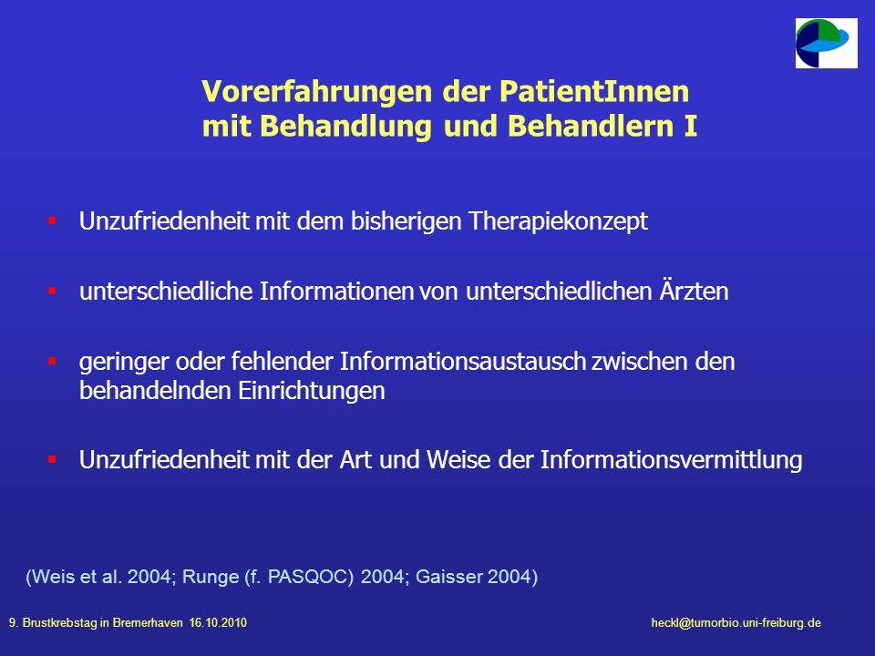 9. Brustkrebstag in Bremerhaven 16.10.2010heckl@tumorbio.uni-freiburg.de Vorerfahrungen der PatientInnen mit Behandlung und Behandlern I Unzufriedenhe