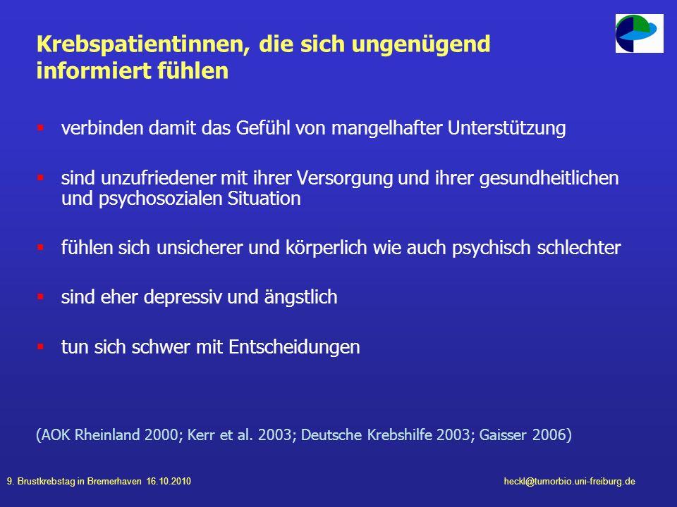 9. Brustkrebstag in Bremerhaven 16.10.2010heckl@tumorbio.uni-freiburg.de Krebspatientinnen, die sich ungenügend informiert fühlen verbinden damit das