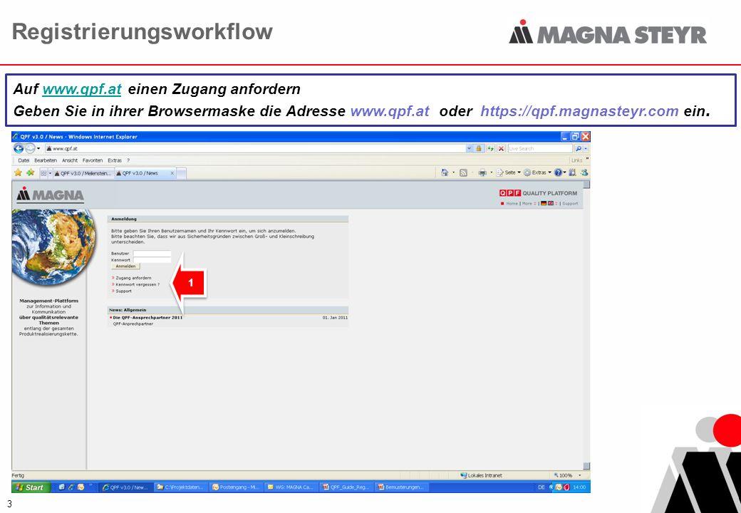3 Auf www.qpf.at einen Zugang anfordern Geben Sie in ihrer Browsermaske die Adresse www.qpf.at oder https://qpf.magnasteyr.com ein. 1 1 Registrierungs