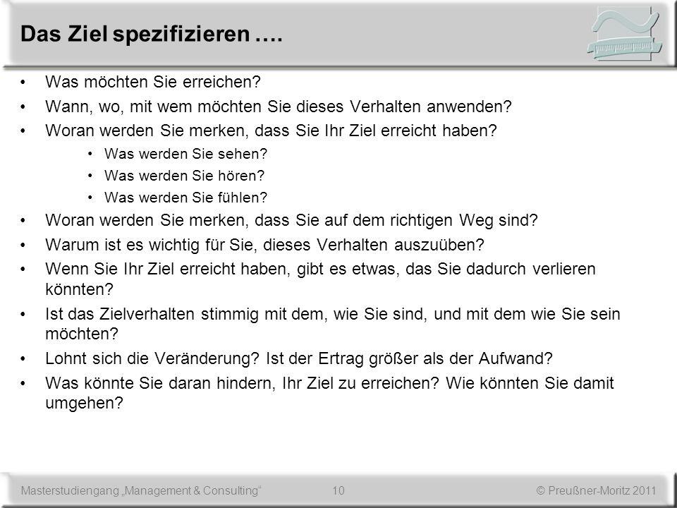 10Masterstudiengang Management & Consulting© Preußner-Moritz 2011 Das Ziel spezifizieren …. Was möchten Sie erreichen? Wann, wo, mit wem möchten Sie d