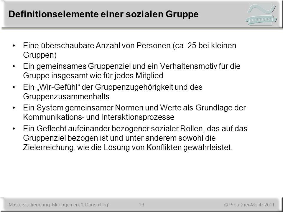 16Masterstudiengang Management & Consulting© Preußner-Moritz 2011 Definitionselemente einer sozialen Gruppe Eine überschaubare Anzahl von Personen (ca