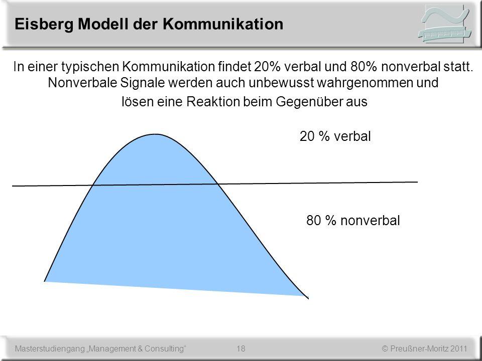 18Masterstudiengang Management & Consulting© Preußner-Moritz 2011 Eisberg Modell der Kommunikation 20 % verbal 80 % nonverbal In einer typischen Kommu