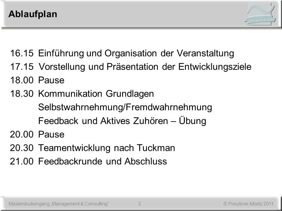 2Masterstudiengang Management & Consulting© Preußner-Moritz 2011 Ablaufplan 16.15Einführung und Organisation der Veranstaltung 17.15 Vorstellung und P
