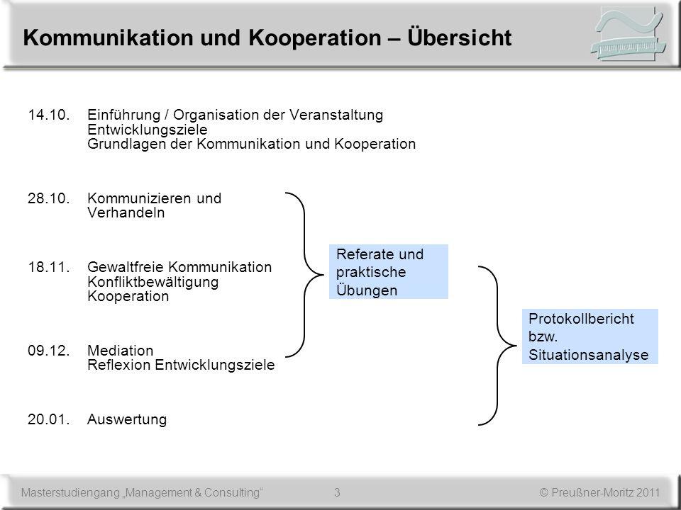 3Masterstudiengang Management & Consulting© Preußner-Moritz 2011 Kommunikation und Kooperation – Übersicht 14.10.Einführung / Organisation der Veranst