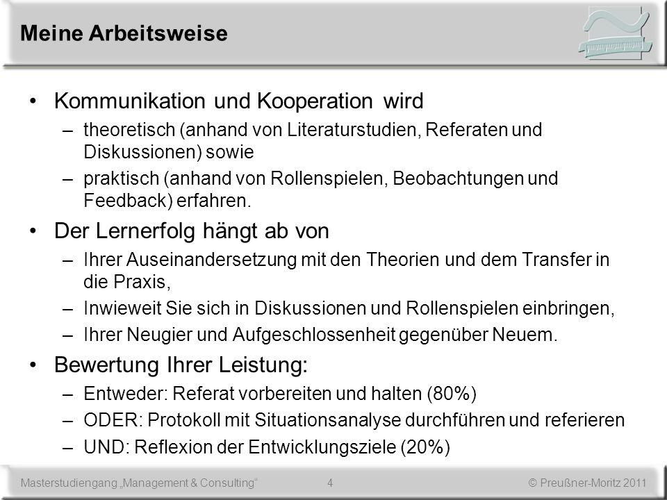 4Masterstudiengang Management & Consulting© Preußner-Moritz 2011 Meine Arbeitsweise Kommunikation und Kooperation wird –theoretisch (anhand von Litera