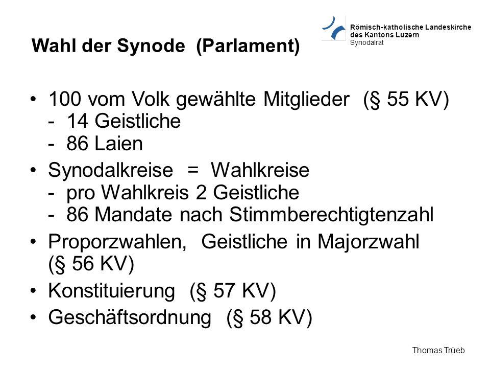 Römisch-katholische Landeskirche des Kantons Luzern Synodalrat Thomas Trüeb Wahl der Synode (Parlament) 100 vom Volk gewählte Mitglieder (§ 55 KV) - 1