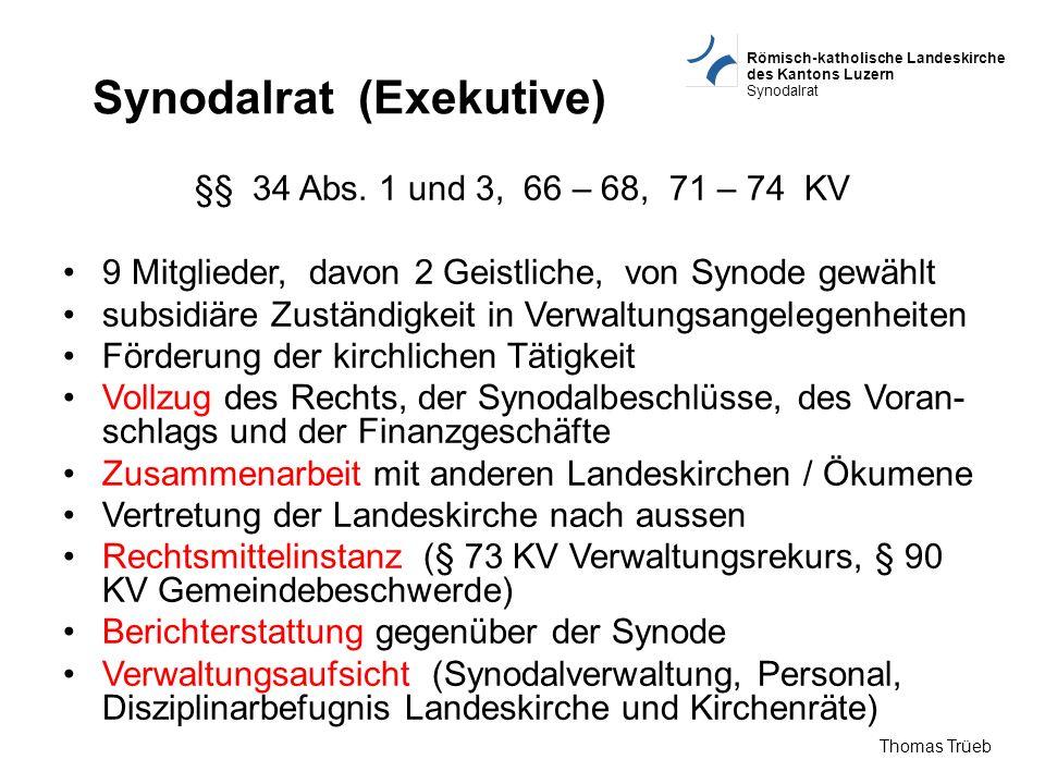 Römisch-katholische Landeskirche des Kantons Luzern Synodalrat Thomas Trüeb Synodalrat (Exekutive) §§ 34 Abs. 1 und 3, 66 – 68, 71 – 74 KV 9 Mitgliede