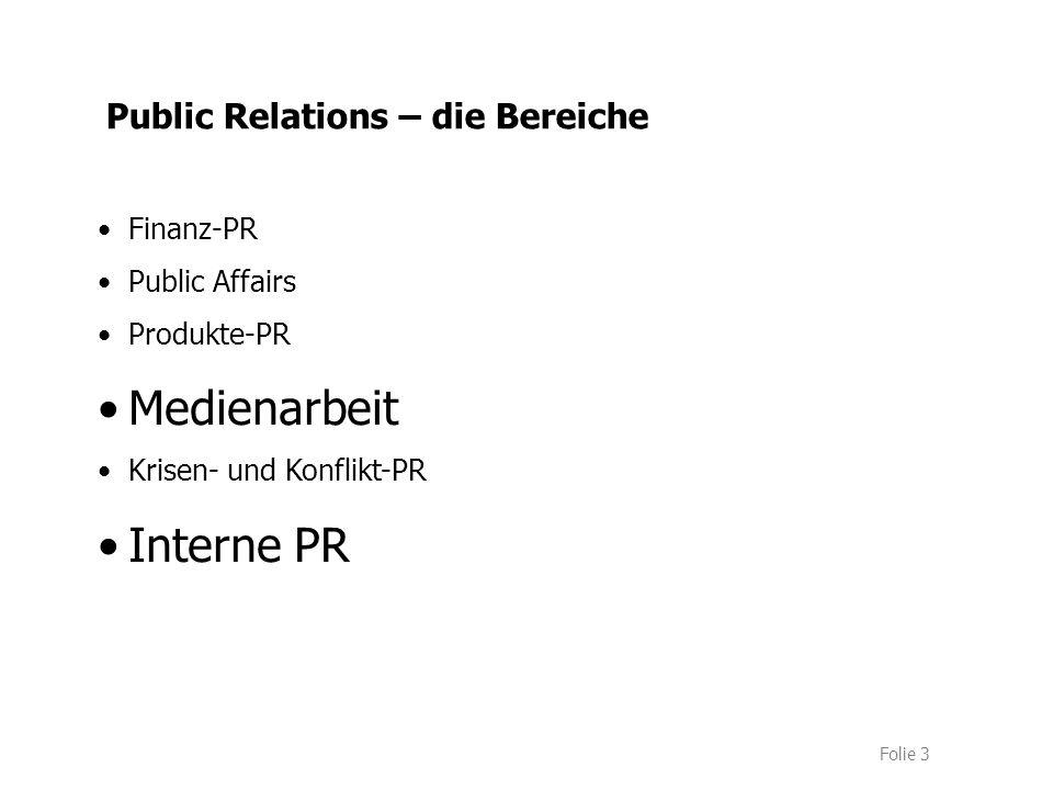 Folie 3 Public Relations – die Bereiche Finanz-PR Public Affairs Produkte-PR Medienarbeit Krisen- und Konflikt-PR Interne PR
