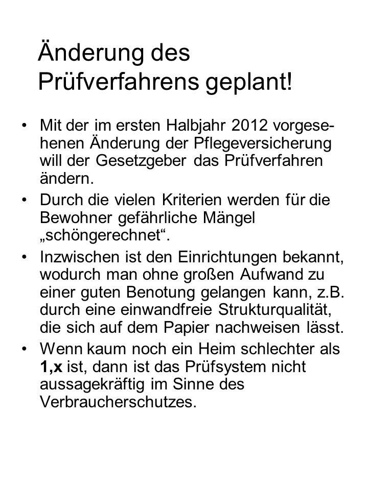 Änderung des Prüfverfahrens geplant! Mit der im ersten Halbjahr 2012 vorgese- henen Änderung der Pflegeversicherung will der Gesetzgeber das Prüfverfa