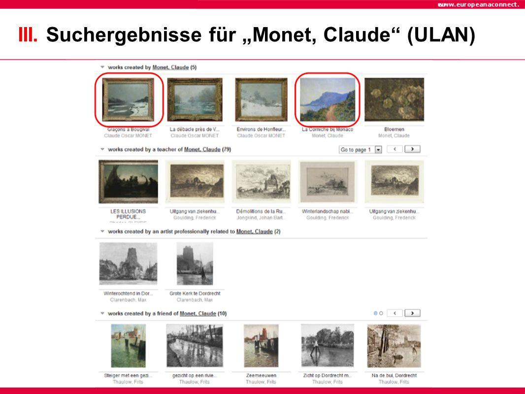 III. Suchergebnisse für Monet, Claude (ULAN)