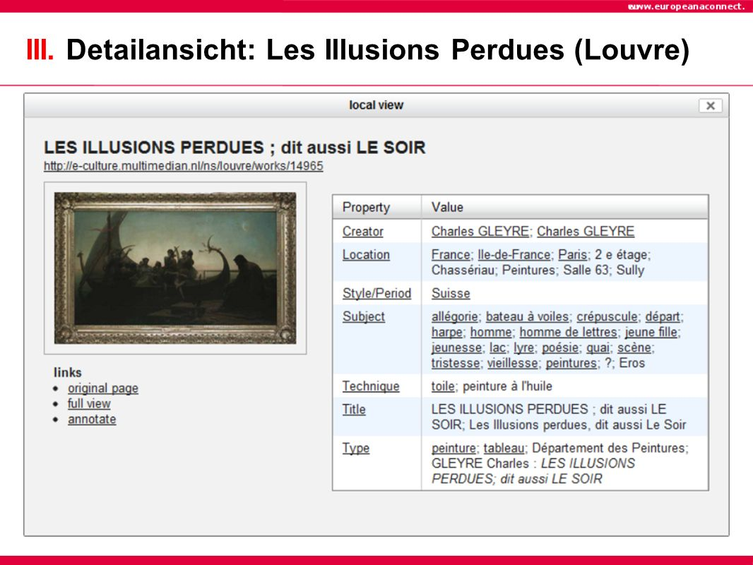 III. Detailansicht: Les Illusions Perdues (Louvre)