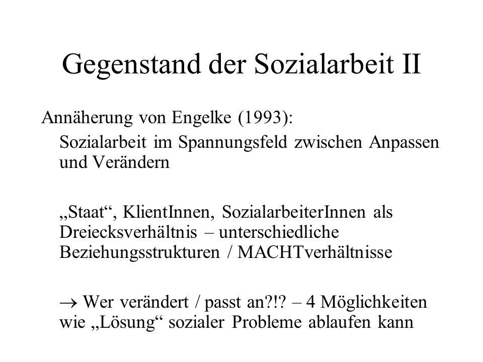 Gegenstand der Sozialarbeit II Annäherung von Engelke (1993): Sozialarbeit im Spannungsfeld zwischen Anpassen und Verändern Staat, KlientInnen, Sozial
