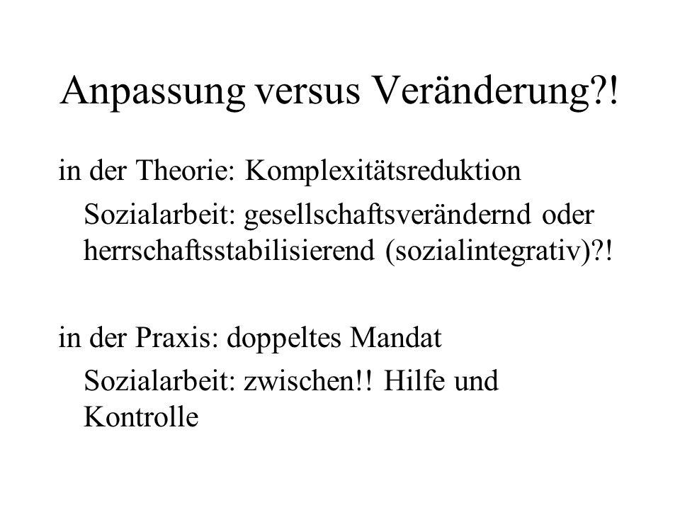Anpassung versus Veränderung?! in der Theorie: Komplexitätsreduktion Sozialarbeit: gesellschaftsverändernd oder herrschaftsstabilisierend (sozialinteg