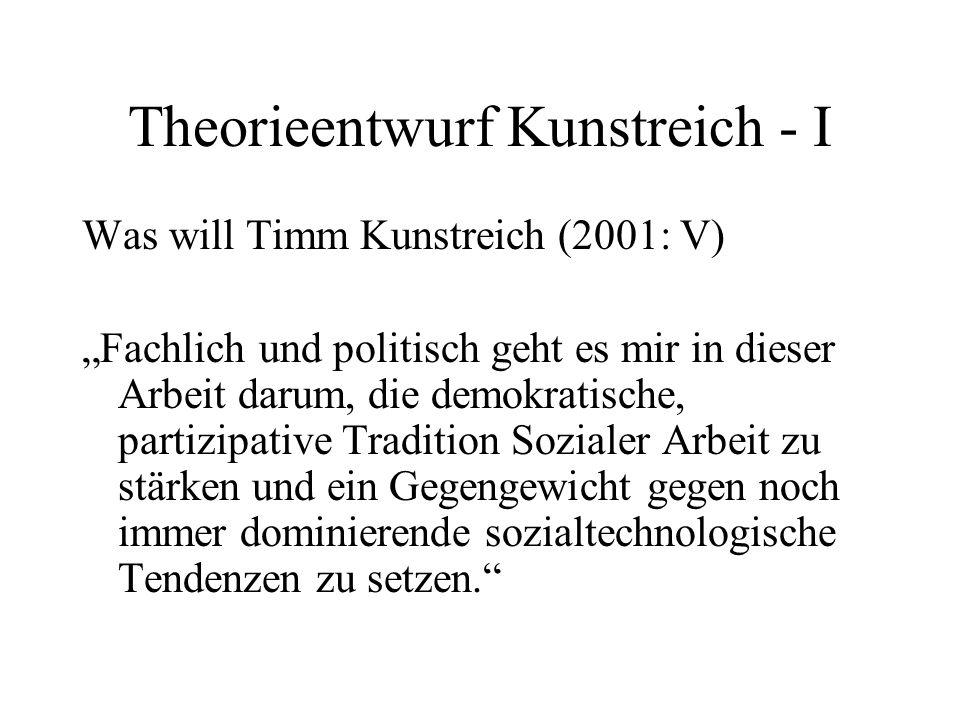 Theorieentwurf Kunstreich - I Was will Timm Kunstreich (2001: V) Fachlich und politisch geht es mir in dieser Arbeit darum, die demokratische, partizi