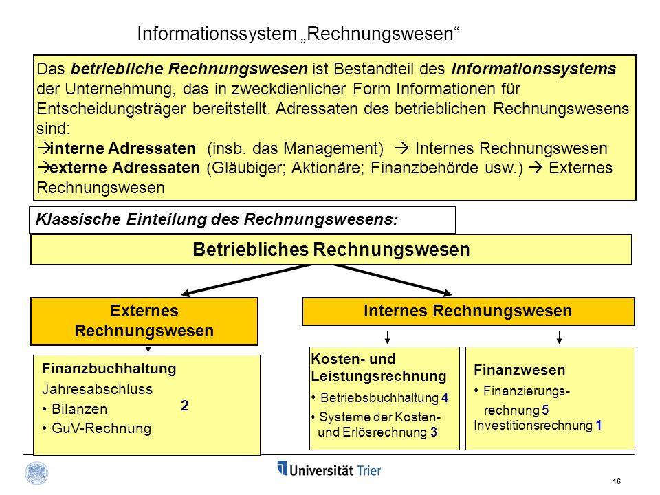 16 Das betriebliche Rechnungswesen ist Bestandteil des Informationssystems der Unternehmung, das in zweckdienlicher Form Informationen für Entscheidungsträger bereitstellt.