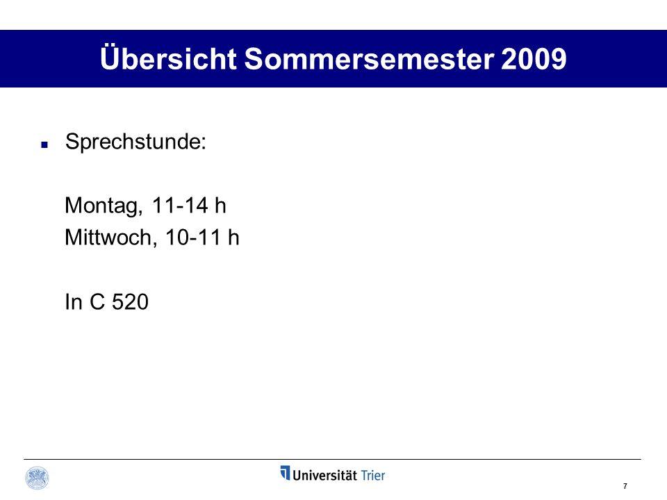 7 Übersicht Sommersemester 2009 Sprechstunde: Montag, 11-14 h Mittwoch, 10-11 h In C 520