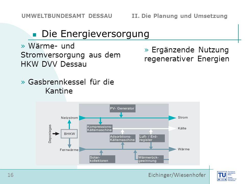 16 Eichinger/Wiesenhofer Die Energieversorgung UMWELTBUNDESAMT DESSAU II. Die Planung und Umsetzung » Wärme- und Stromversorgung aus dem HKW DVV Dessa