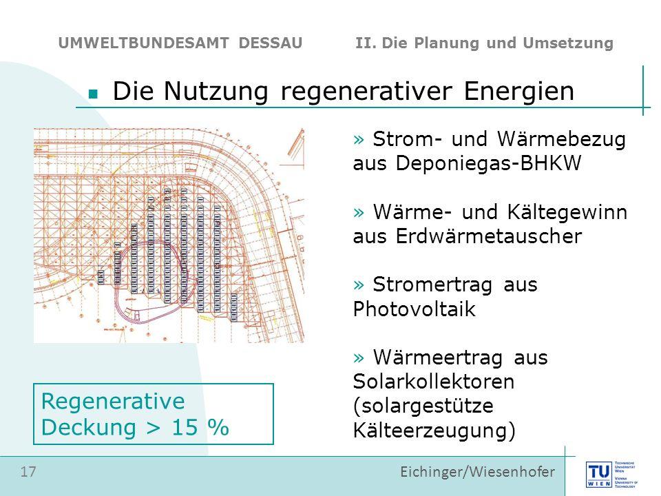 17 Eichinger/Wiesenhofer Die Nutzung regenerativer Energien UMWELTBUNDESAMT DESSAU II. Die Planung und Umsetzung » Strom- und Wärmebezug aus Deponiega