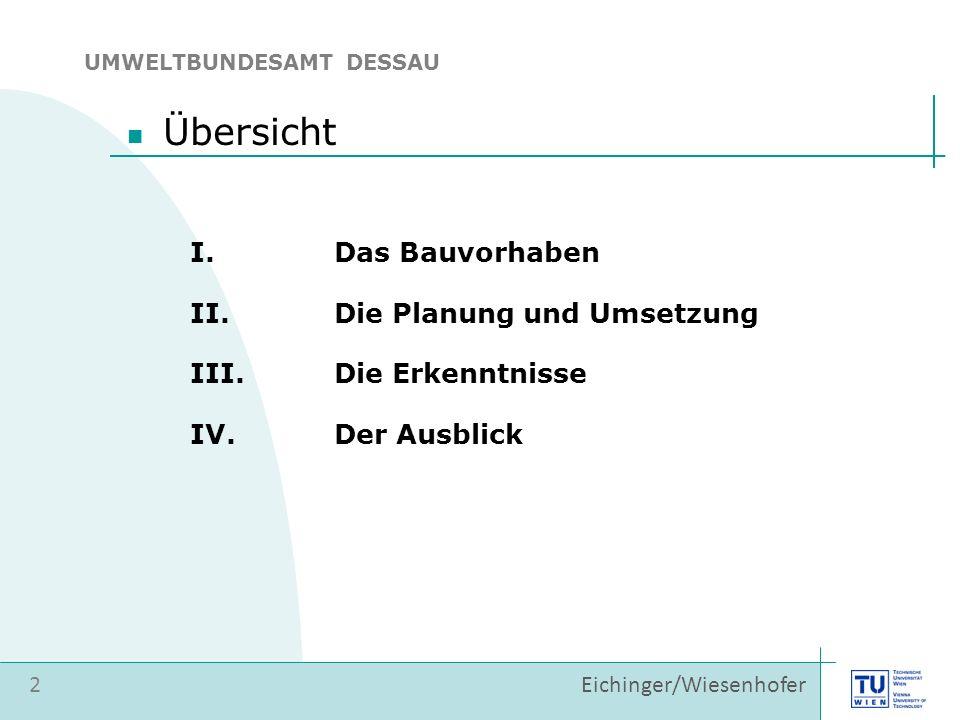 Eichinger/Wiesenhofer Übersicht I.Das Bauvorhaben II.Die Planung und Umsetzung 2 III.Die Erkenntnisse IV.Der Ausblick UMWELTBUNDESAMT DESSAU