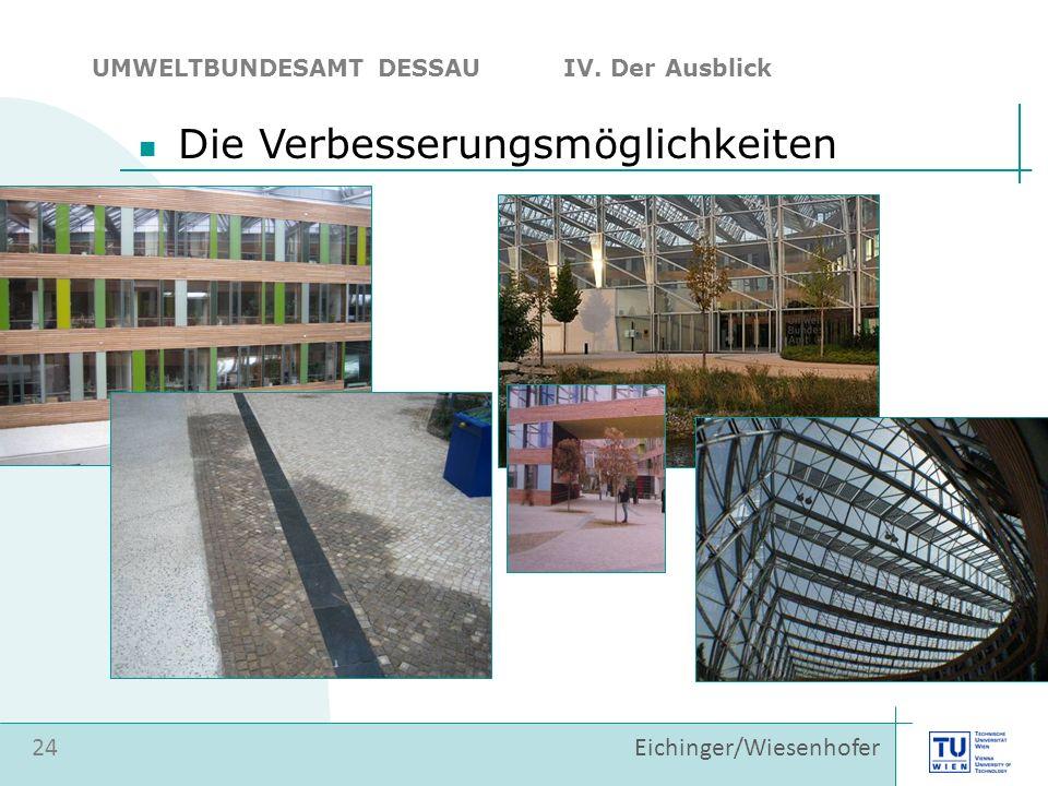 24 Eichinger/Wiesenhofer Die Verbesserungsmöglichkeiten UMWELTBUNDESAMT DESSAU IV. Der Ausblick