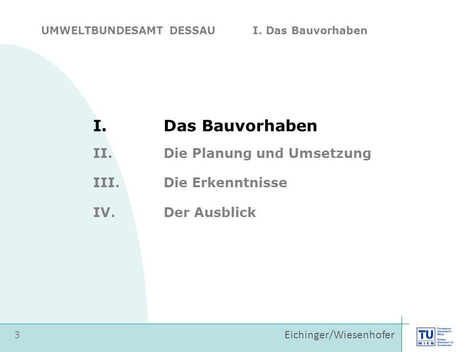 Eichinger/Wiesenhofer I.Das Bauvorhaben II.Die Planung und Umsetzung 3 III.Die Erkenntnisse IV.Der Ausblick UMWELTBUNDESAMT DESSAU I.