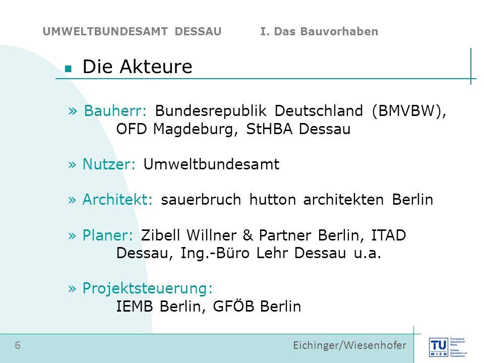 » Bauherr: Bundesrepublik Deutschland (BMVBW), OFD Magdeburg, StHBA Dessau » Nutzer: Umweltbundesamt » Architekt: sauerbruch hutton architekten Berlin