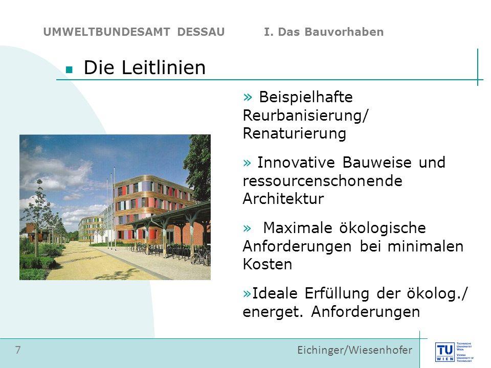 » Beispielhafte Reurbanisierung/ Renaturierung » Innovative Bauweise und ressourcenschonende Architektur » Maximale ökologische Anforderungen bei minimalen Kosten »Ideale Erfüllung der ökolog./ energet.
