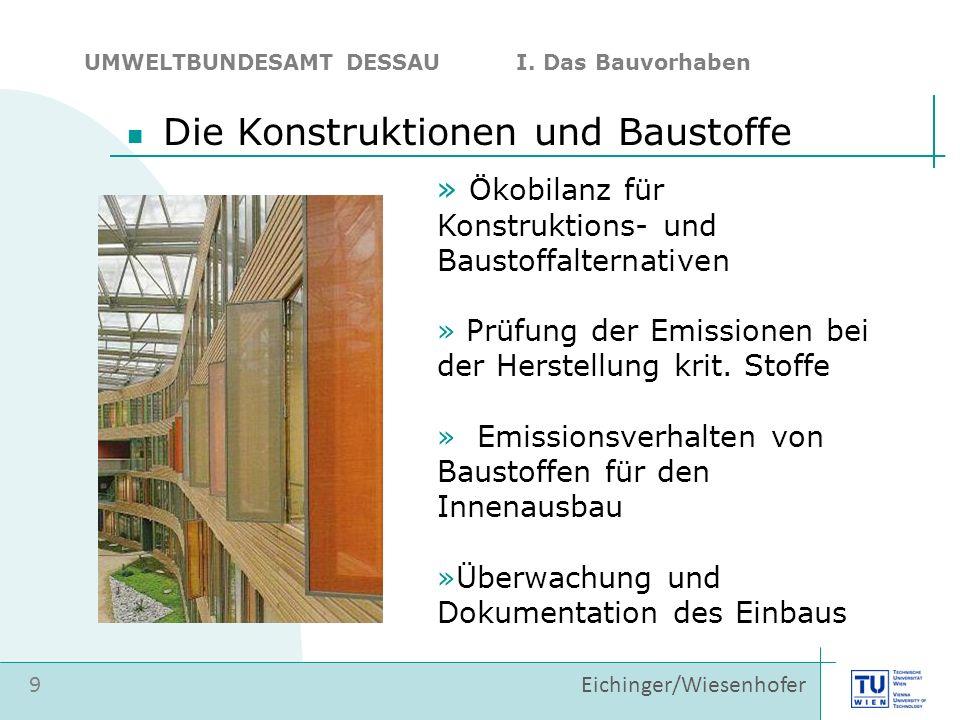 » Ökobilanz für Konstruktions- und Baustoffalternativen » Prüfung der Emissionen bei der Herstellung krit. Stoffe » Emissionsverhalten von Baustoffen