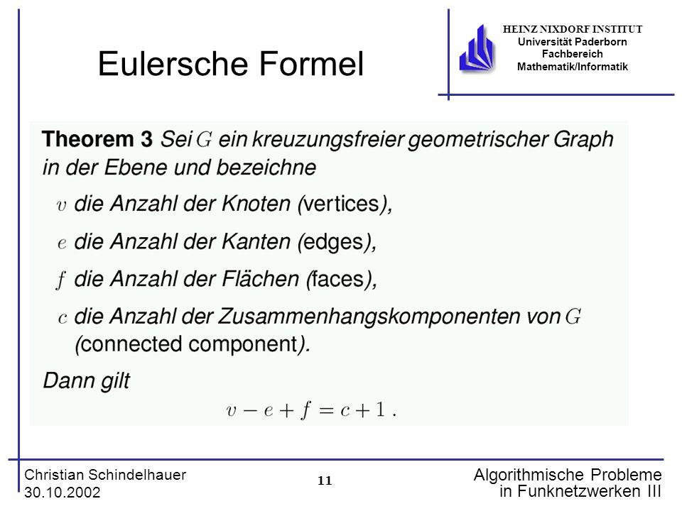 11 Christian Schindelhauer 30.10.2002 HEINZ NIXDORF INSTITUT Universität Paderborn Fachbereich Mathematik/Informatik Algorithmische Probleme in Funknetzwerken III Eulersche Formel