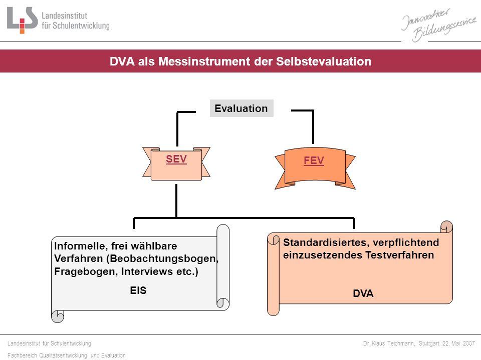 Landesinstitut für Schulentwicklung Fachbereich Qualitätsentwicklung und Evaluation Dr. Klaus Teichmann, Stuttgart 22. Mai 2007 Evaluation SEV FEV Inf